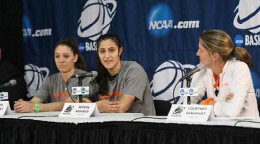 Princeton's Lauren Polansky, Niveen Rasheed & head coach Courtney Banghart. Photo: Beverly Schaefer.