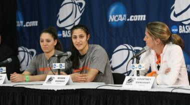 Princeton's Lauren Polansky, Niveen Rasheed & head coach Courtney Banghart. Photo: Beverly Schaefer.