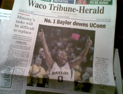 Baylor Lady Bears on the front page of the Waco Tribune-Herald 12-19-11