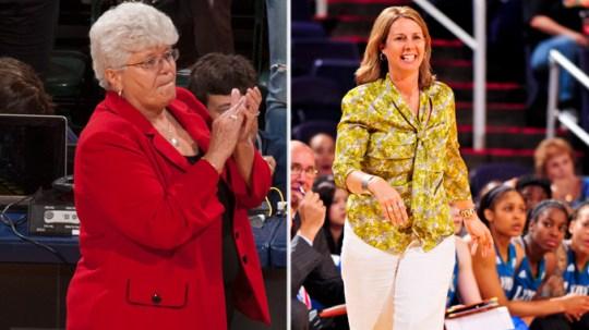Indiana Fever coach Lin Dunn, Minnesota Lynx coach Cheryl Reeve. Photos: NBAE.