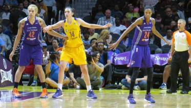 Brittney Griner, Marianna Tolo and DeWanna Bonner.