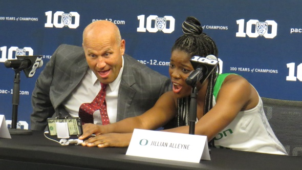 Oregon coach Kelly Graves and Jillian Alleyne take a selfie during Pac-12 Media Day in October 2015.