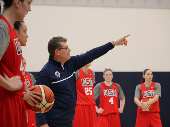 Feb. 21, 2016 - Geno Auriemma, USA Women's National Team and University of Connecticut head coach, directs the team during practice. Photo: USA Basketball.