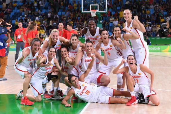 Spain after beating Serbia in the semifinals of the Rio Games. Photo: FIBA.