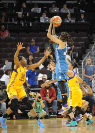 Oct. 14, 2016 - Lynx's Seimone Augustus shoots over Sparks' Nneka Ogwumike in Game 3 of the WNBA Finals. Photo © Lee Michaelson, all rights reserved.