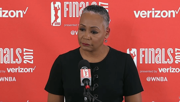 WNBA president Lisa Borders address the media before game one of the 2017 Finals.