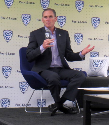 Oct. 11, 2017 (San Francisco) -- Pac-12 Commissioner Larry Scott opens women's basketball media day.