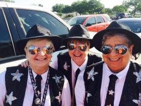 "San Antonio Stars fan group ""The Blue Sisters."" Photos courtesy Suzanne Kenoyer."