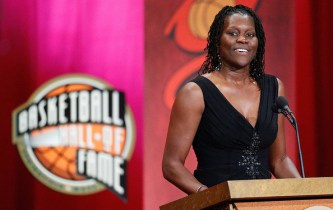 Katrina McClain speaks during the Basketball Hall of Fame Enshrinement Ceremony at Symphony Hall on September 7, 2012 in Springfield, Massachusetts. Photo: Jim Rogash/Getty Images North America.