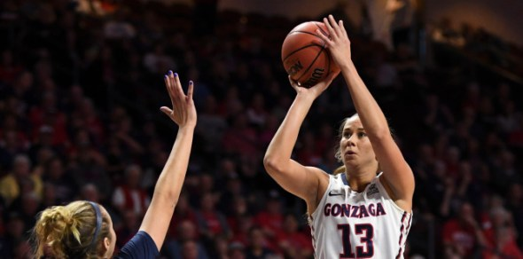 March 2, 2018; Las Vegas, NV, USA; Gonzaga Bulldogs forward Jill Barta (13) against the Pepperdine Waves during the first half of the WCC Basketball Championships at Orleans Arena.