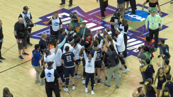 COLUMBUS, Ohio (March 30, 2018) - Notre Dame celebrates on the court after beating UConn in the Final Four.
