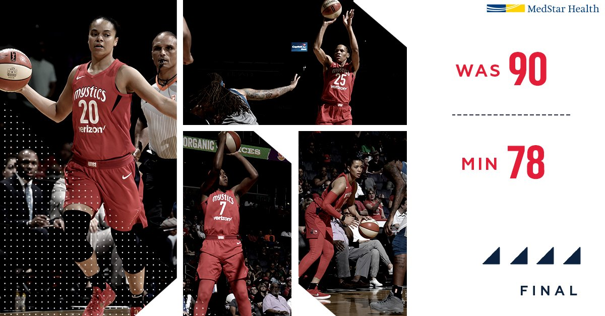 Led by Myisha Hines-Allen, Mystics bench combines for 58 points to help take down the Lynx, 90-78