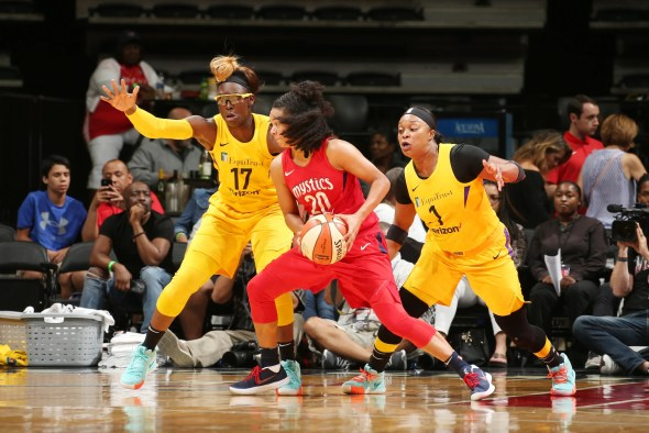 June 15, 2018 (WASHINGTON, D.C) - Los Angeles Sparks at Washington Mystics, Capital One Arena. Photo: NBAE/Getty Images.