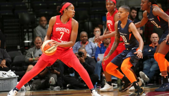Without Delle Donne, Mystics drop second straight game; Sun stay undefeated for best-ever start at 5-0
