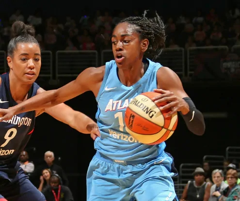 WASHINGTON, D.C. (July 11, 2018) -- Atlanta Dream's Tiffany Hayes. Photo: NBAE/Getty Images.