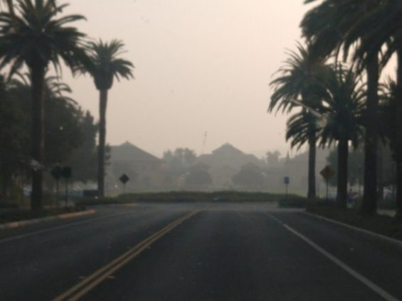 "Hazy view of the Stanford oval late Thursday afternoon when the air quality was rated ""unhealthy."" It worsened Thursday night."