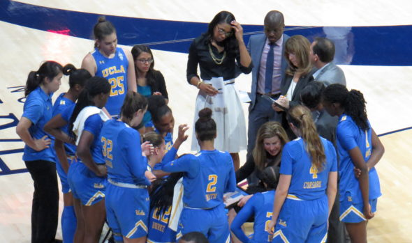 January 4, 2018 (Berkeley, Calif.) -- UCLA listens to head coach Cori Close in the first half of their win vs. Cal.