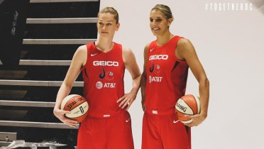 Emma Meesseman and Elena Delle Donne at Mystics media day, May 6, 2019. Photo: Washington Mystics.