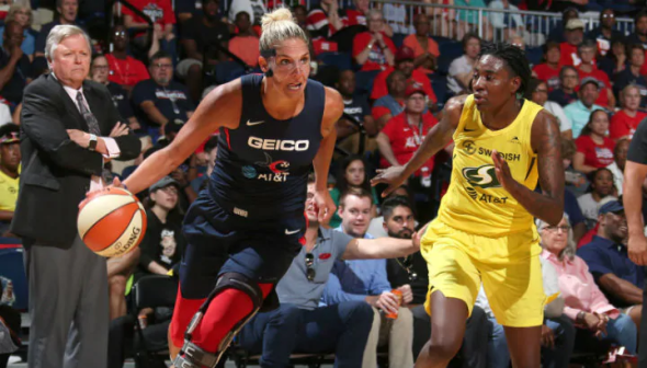 Aug. 14, 2019 - Elena Delle Donne and Natasha Howard. Photo: NBAE/Getty Images.