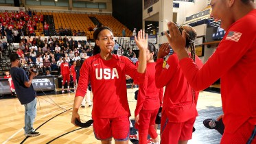 WASHINGTON, DC - SEPTEMBER 10: Allisha Gray #31 of the USA National Team high-fives A'ja Wilson #30 of the USA National Team before the game against the Japan National Team on September 10, 2018 at the Charles E Smith Center at George Washington University in Washington, DC. NOTE TO USER: User expressly acknowledges and agrees that, by downloading and/or using this Photograph, user is consenting to the terms and conditions of the Getty Images License Agreement. Mandatory Copyright Notice: Copyright 2018 NBAE (Photo by Ned Dishman/NBAE via Getty Images)