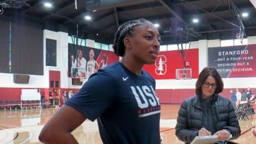 STANFORD, Calif. (11/01/19) - Nneka Ogwumike talks to media before practice.