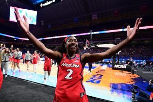 SAN ANTONIO, TX - APRIL 2: Aari McDonald #2 of the Arizona Wildcats celebrate their win over the Connecticut Huskies in the semifinals of the NCAA WomenÕs Basketball Tournament at Alamodome on April 2, 2021 in San Antonio, Texas. (Photo by Ben Solomon via Getty Images)