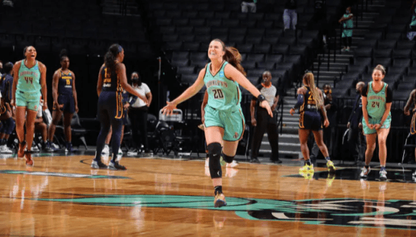 May 14, 2021, Barclays Center - New York Liberty beats the Indiana Fever, 90-87. Photo: NBAE/Getty Images.