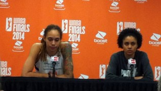 PHOENIX (Sept. 7, 2014) - Brittney Griner and Candice Dupree after game 1 of the 2014 WNBA Finals.