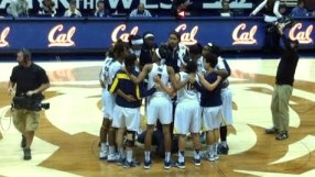 Cal postgame huddle after defeating UCLA Sunday in Berkeley.
