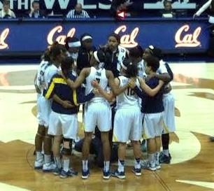 Cal postgame huddle.
