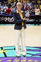 LOS ANGELES, CA - OCTOBER 7: Head Coach Carol Ross of the Los Angeles Sparks poses with her award for Coach of the Year prior to Game Two of the WNBA Western Conference Finals against the Minnesota Lynx at Staples Center on October 7, 2012 in Los Angeles, California. NOTE TO USER: User expressly acknowledges and agrees that, by downloading and or using this photograph, User is consenting to the terms and conditions of the Getty Images License Agreement. Mandatory Copyright Notice: Copyright 2012 NBAE (Photo by Jon SooHoo/NBAE via Getty Images)