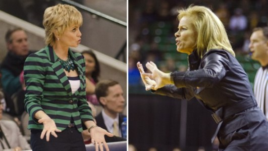Baylor coach Kim Mulkey, Florida State coach Sue Semrau. Photos © Robert Franklin, all rights reserved.