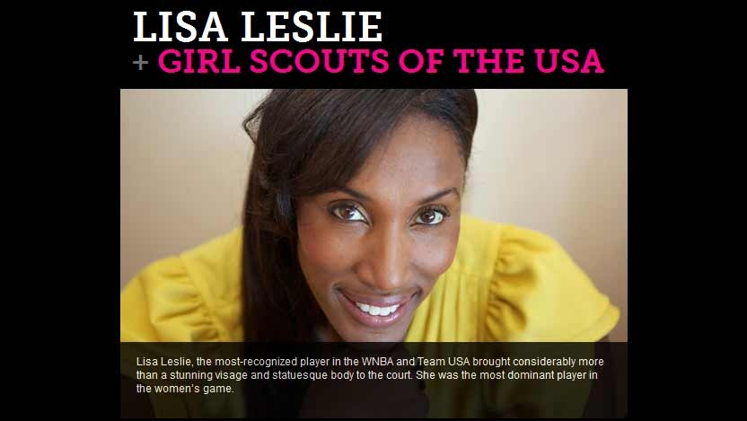 Lisa Leslie featured on eBay Celebrity supporting the Girl Scouts