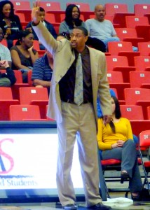 CSUB Coach Greg McCall calls out a play in the first half