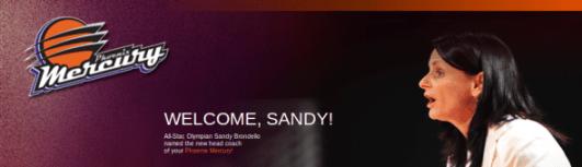 Phoenix Mercury website splash page announcing Sandy Brondello as head coach.