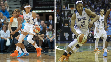 Seimone Augustus and Maya Moore during the 2013 WNBA Finals. Photos © Robert Franklin, all rights reserved.