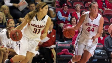 Stanford's Joslyn Tinkle (Photo: Norbert Von Der Groeben/isiPhoto) and Gonzaga's Elle Tinkle (Photo: Gonzaga Athletics/Torrey Vail).