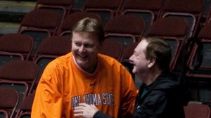 Kurt Budke jokes with Leon Barmore during the 2011 Big 12 tournament in March.