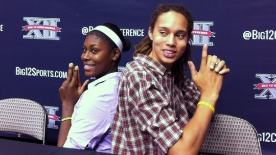 Baylor's Destiny Williams and Brittney Griner strike a fun pose at 2012-13 Big 12 Media Day in late October.