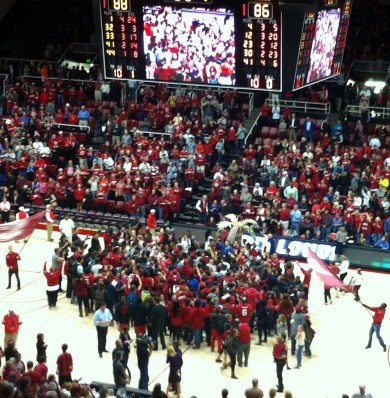 Fans rush the court after No. 6 Stanford's victory over No. 1 UConn.