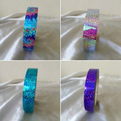 Sparkling Sequins Tapes: Rainbow Tiedye,Golden Sunset, Turquoise, Purple Orchid