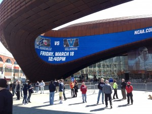 The Barclays Center ahead of a full day of NCAA Tournament games, starting with UNC Asheville taking on Villanova (Ray Floriani photo)
