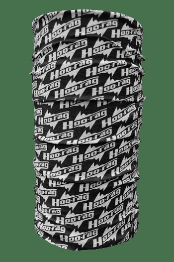 black and white hoo-rag with hoo-rag logo design