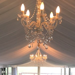 5 Arm White Crystal Chandelier