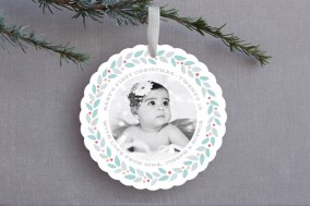 Modern Wreath Ornament Card