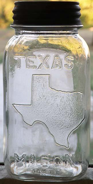 TEXAS MASON Fruit Jar Qt w State Of Texas Pictured  eBay
