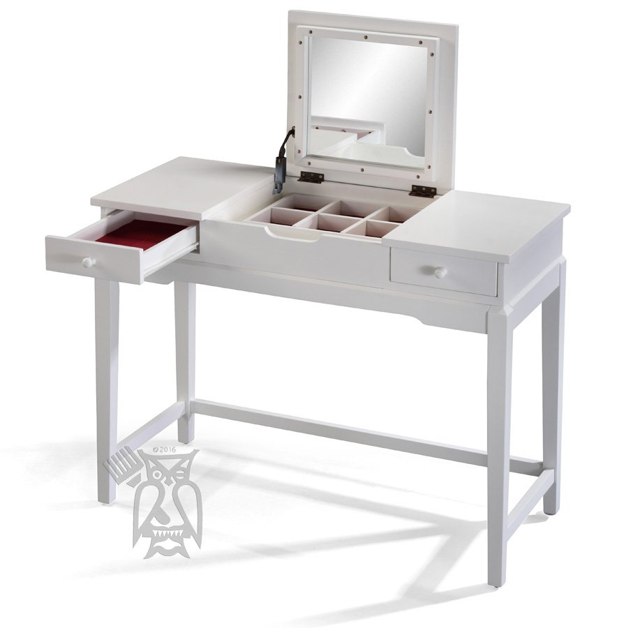 solid parawood wood vanity table with mirror in white lacquer