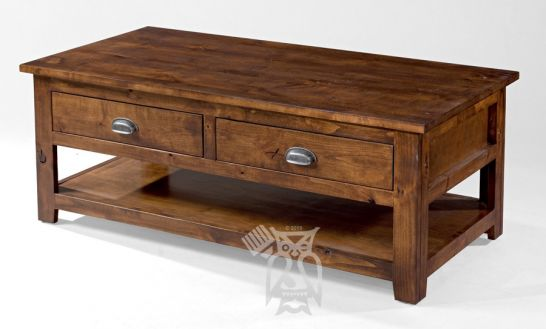 california made knotty rustic alder wood coffee table with drawer in rustic coffee finish