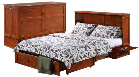 solid parawood clover queen size folding wood murphy bed mattress in cherry finish