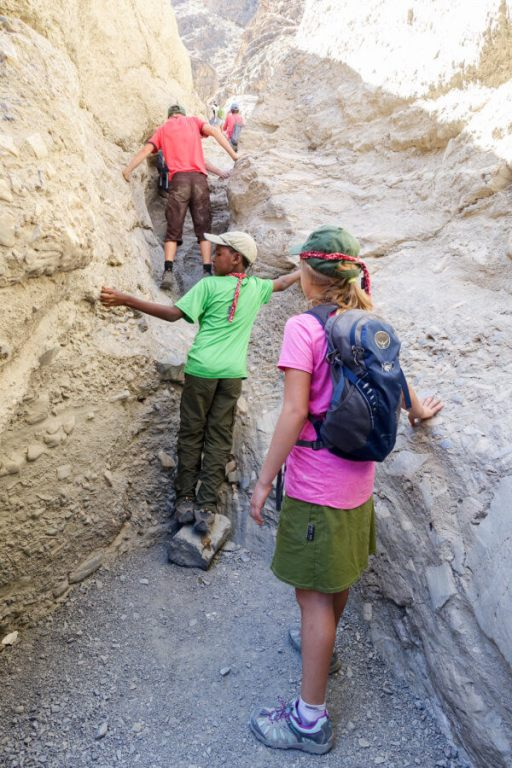 Climbing the chutes of Mosaic Canyon